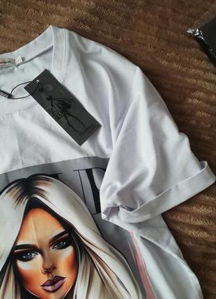 Платье-футболка 2 цвета, платье мини, платье-туника, платье с принтом (арт 100404)7 фото