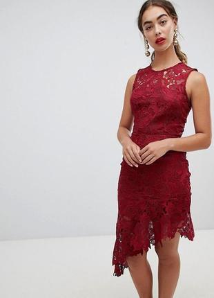Кружевное платье миди с асимметричным краем river island premium
