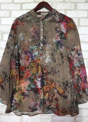 Бомбезная блузка в цветочный принт