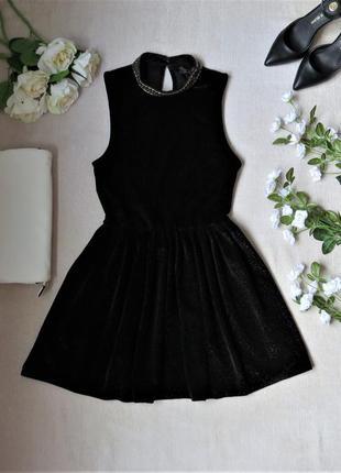 Велюровое платье клеш