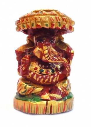 Статуэтка деревянная ганеш под зонтиком с росписью