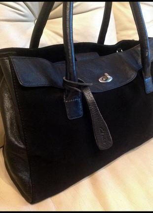 Объемная шикарная замшевая + кожаная сумка – clarks