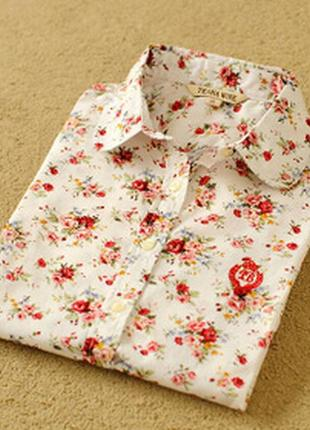 Приталенная блузка хлопок