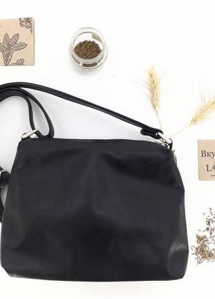 """Женская кожаная сумка через плечо """"тмин"""" (черный)"""