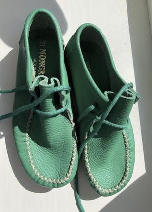 Зелёные 🍀ботинки 🥾на осень 🍂 mongreen кожаные испания.