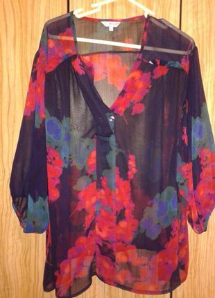 Очень красивая шифоновая нарядная блуза от m&s per una p.18