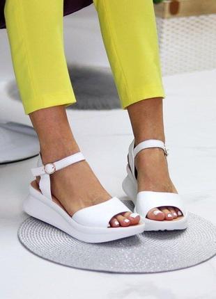 Белые кожаные босоножки, босоножки luke, білі шкіряні босоніжки 36-40р код 10386