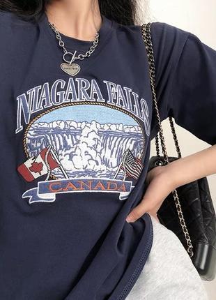 Трендовая женская синяя новая футболка