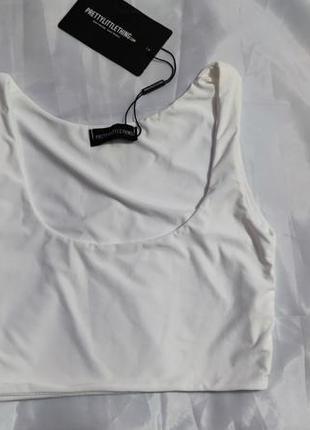 Топ prettylittlething, размер s, белый4 фото