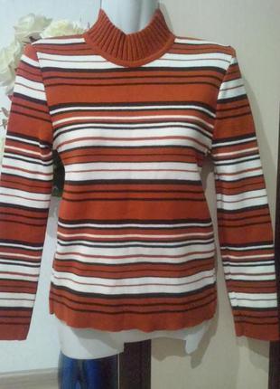 Полосатый теплый джемпер, свитер шерсть.