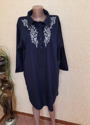 Натуральная  рубашка туника платье с вышивкой