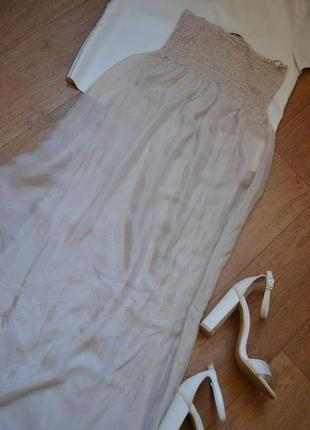 Paolo casalini натуральное шелковое платье 100% шелк длинное легкое бежевое в пол