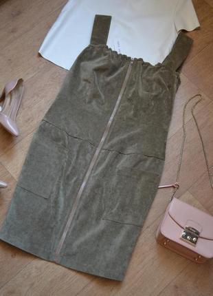 Anna yakovenko платье сарафан вельветовое велюровое с карманами на змейке