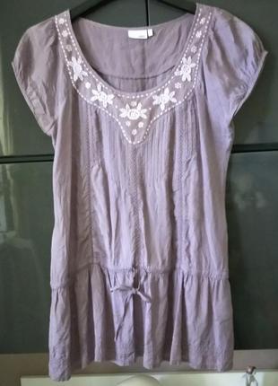 Блуза туника сиреневая из тонкой вискозы с вышивкой next