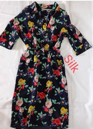 Платье шелковое двубортное цветы