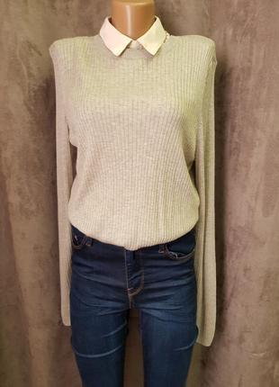 Серий свитер в рубчик,кофта h&m