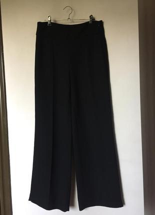 Чёрные базовые широкие штаны брюки палаццо кюлоты клёш2 фото