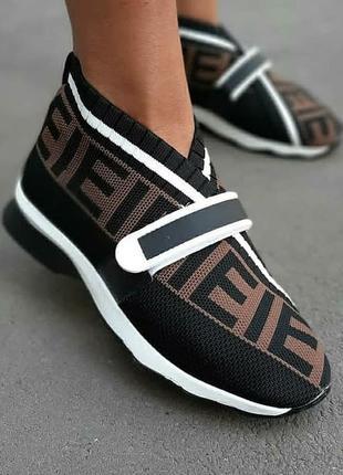 Летние кроссовки, кроссовки текстильные фенди
