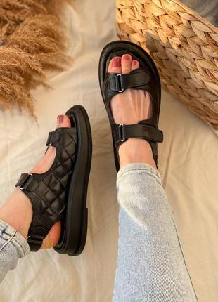 Ультрамодные сандали босоножки на липучках натуральная кожа черный беж