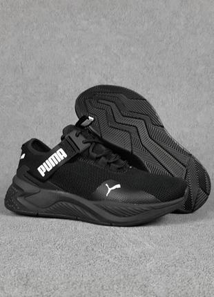 Женские кроссовки puma с ремешком чёрные с белым