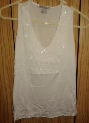 Красивая нарядная майка блуза с пайетками от h&m,p.xs
