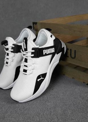 Женские кроссовки puma с ремешком белые с чёрным