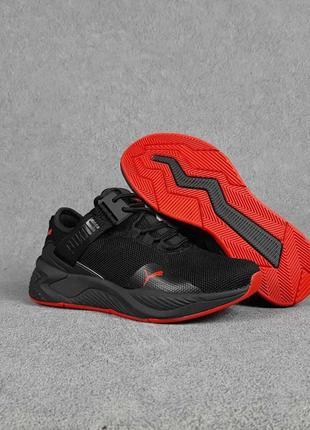Женские кроссовки puma с ремешком чёрные с красным