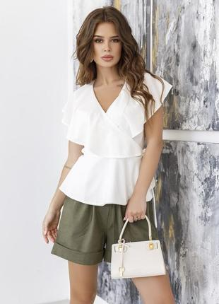 Молочная блуза на запах с баской арт: sa-12045i