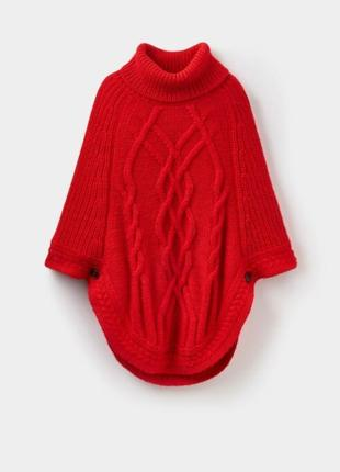 Брендовое красное теплое вязаное пончо с горловиной joules шерсть альпака этикетка