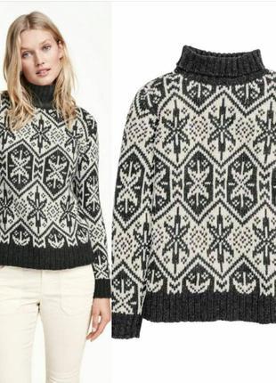 Теплый джемпер h&m,свитер с снежинками,свитер под шею,серый джемпер
