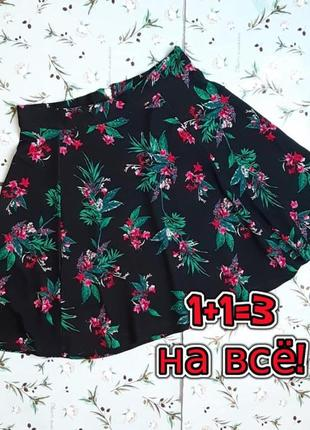 🎁1+1=3 модная черная короткая юбка в принт высокая посадка janina, размер 44 - 46