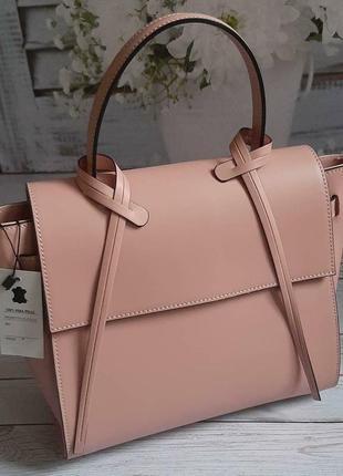 Женская сумка кожа италия пудра