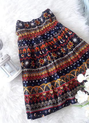 Яркая юбка в этническом стиле с узором черная размер m l atmosphere