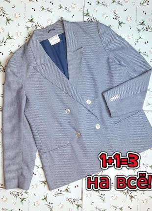 🌿1+1=3 шикарный синий женский прямой двубортный пиджак debenhams, размер 46 - 48