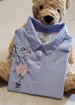 Рубашка платье в полоску с вышивкой длинный рукав для дома и сна хлопок р 10-12 love to lounge