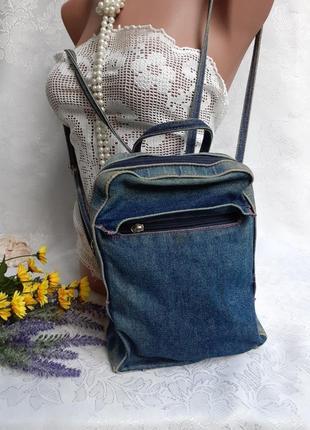 Рюкзак сумка джинс denim небольшой 100% коттон джинсовый