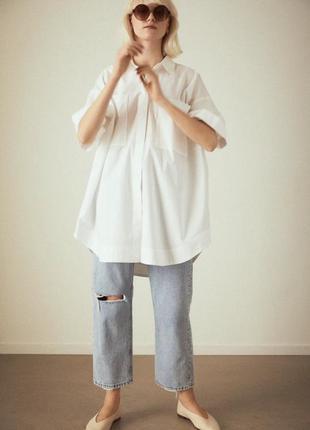 Базова біла сорочка оверсайз белая рубашка h&m