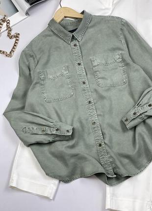 Оливковая рубашка marks & spencer
