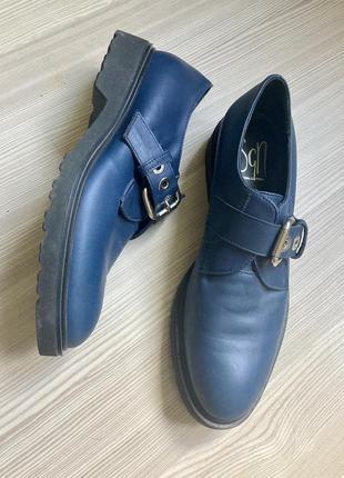 Итальянские кожаные 38 стилевые броги туфли синие