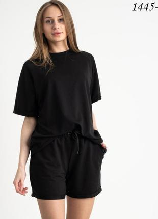Стильный oversize  женский костюм ( футболка +шорты) из двунитки