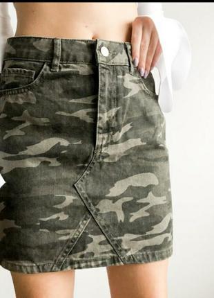 Юбка джинсовая юбка сарафан платье туника костюм принт камуфляж батал большой размер