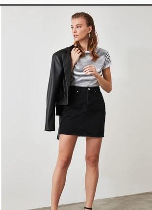 Чёрная джинсовая юбка сарафан штаны брюки кюлоты большой размер платье боди