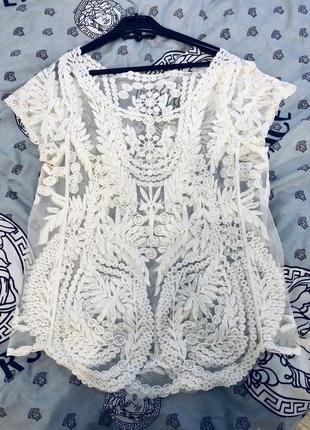 Ажурная блузка футболка zara