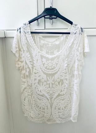 Ажурная блузка футболка zara3 фото