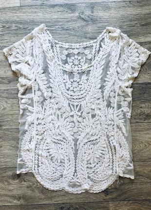 Ажурная блузка футболка zara2 фото