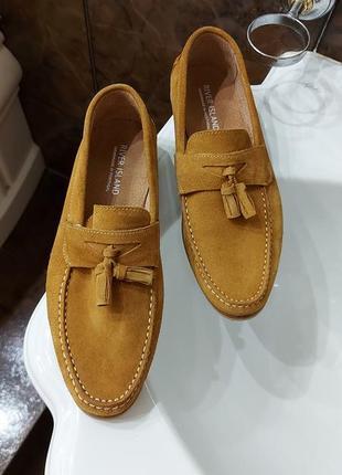 Туфли мокасины натур. кожа замша. строго-стильно