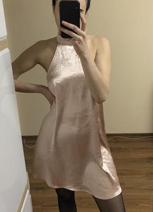Платье под шелк атлас сарафан с открытой спинкой