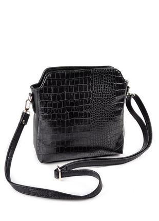 Черная крокодиловая сумочка кроссбоди через плечо черная