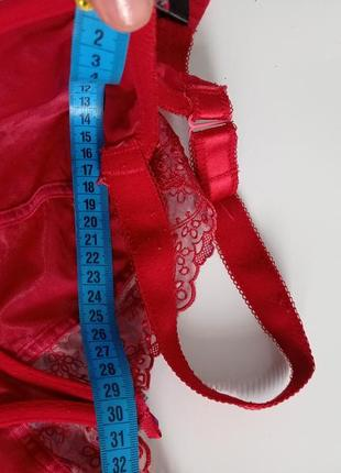 Красный кружевной лифчик бюстгальтер мягкий без поролона 36g 80g6 фото