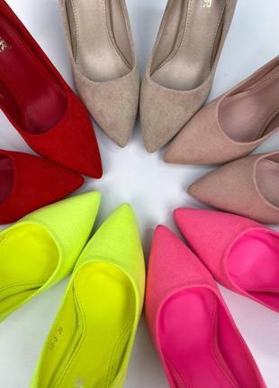 Туфли лодочки женские жнлтые замшевые на шпильке